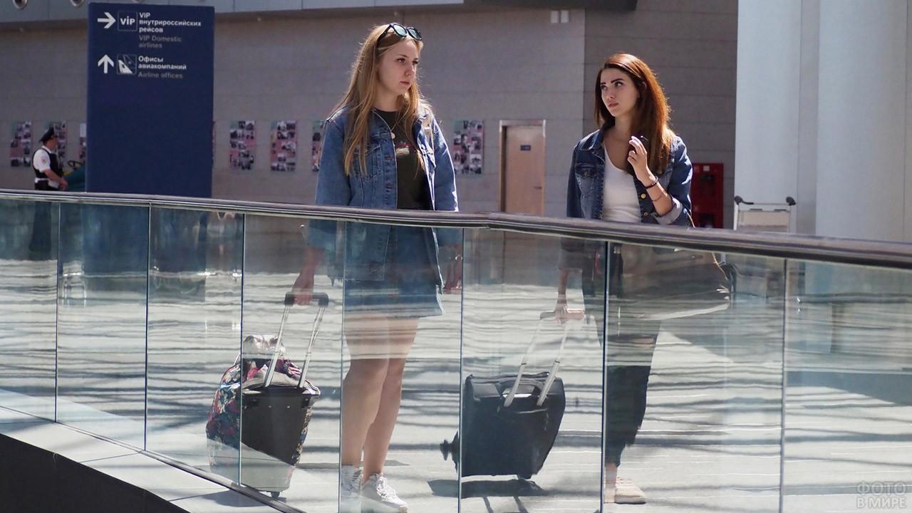 Туристки с чемоданами во Внуково