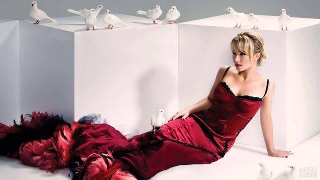 Девушка в вечернем платье рядом с голубями