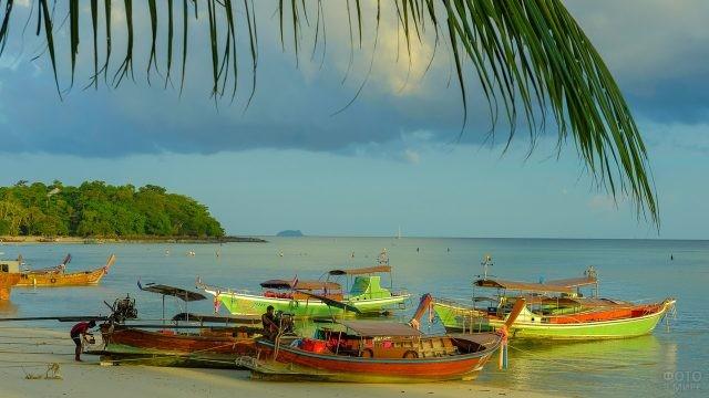 Прогулочные лодки на берегу моря