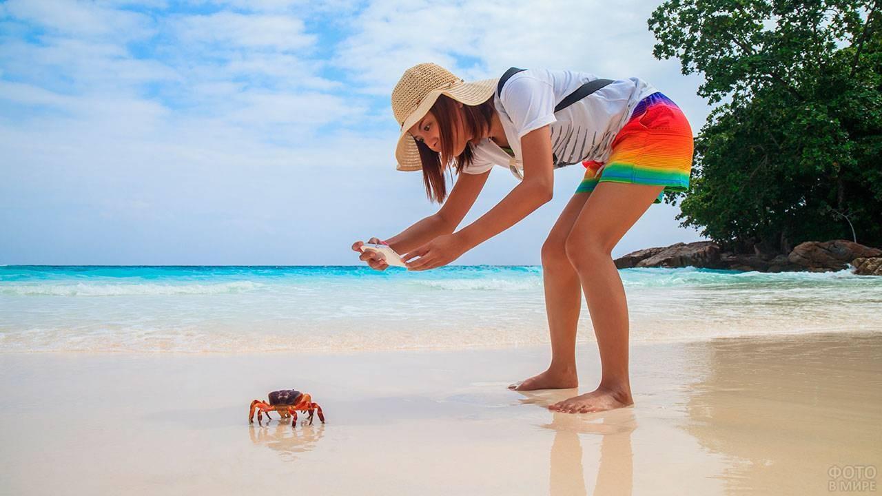 Девушка фотографирует краба на Ко Тачай