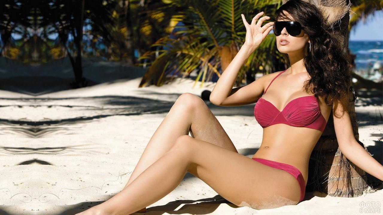 Девушка в очках облокотилась на пальму