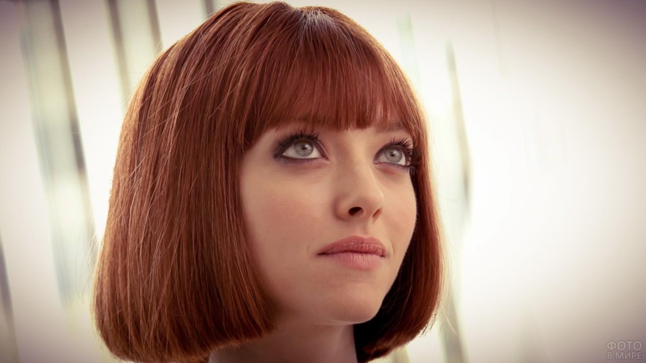 Каре на рыжие волосы с чёлкой