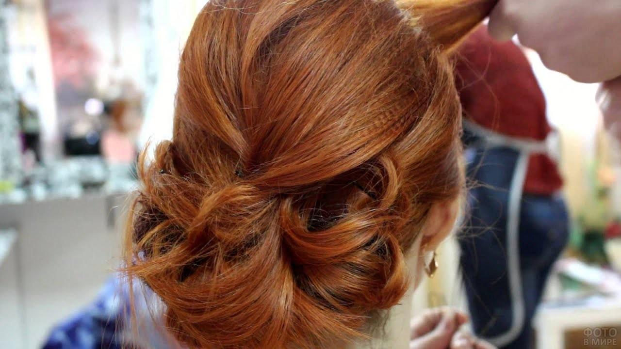 Вечерняя причёска на длинные рыжие волосы