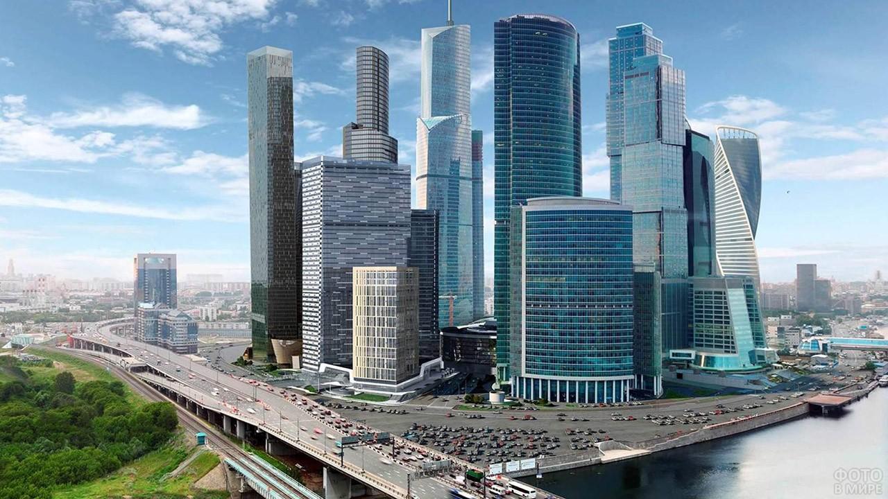 Третье транспортное кольцо у подножья Москва-Сити