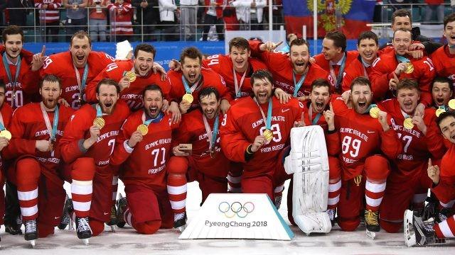Игроки Олимпийской сборной с золотыми медалями