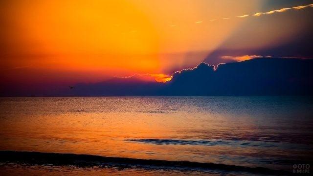 Грозовая туча на фоне пурпурного заката