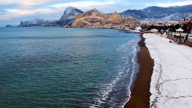 Январский пляж в Судаке