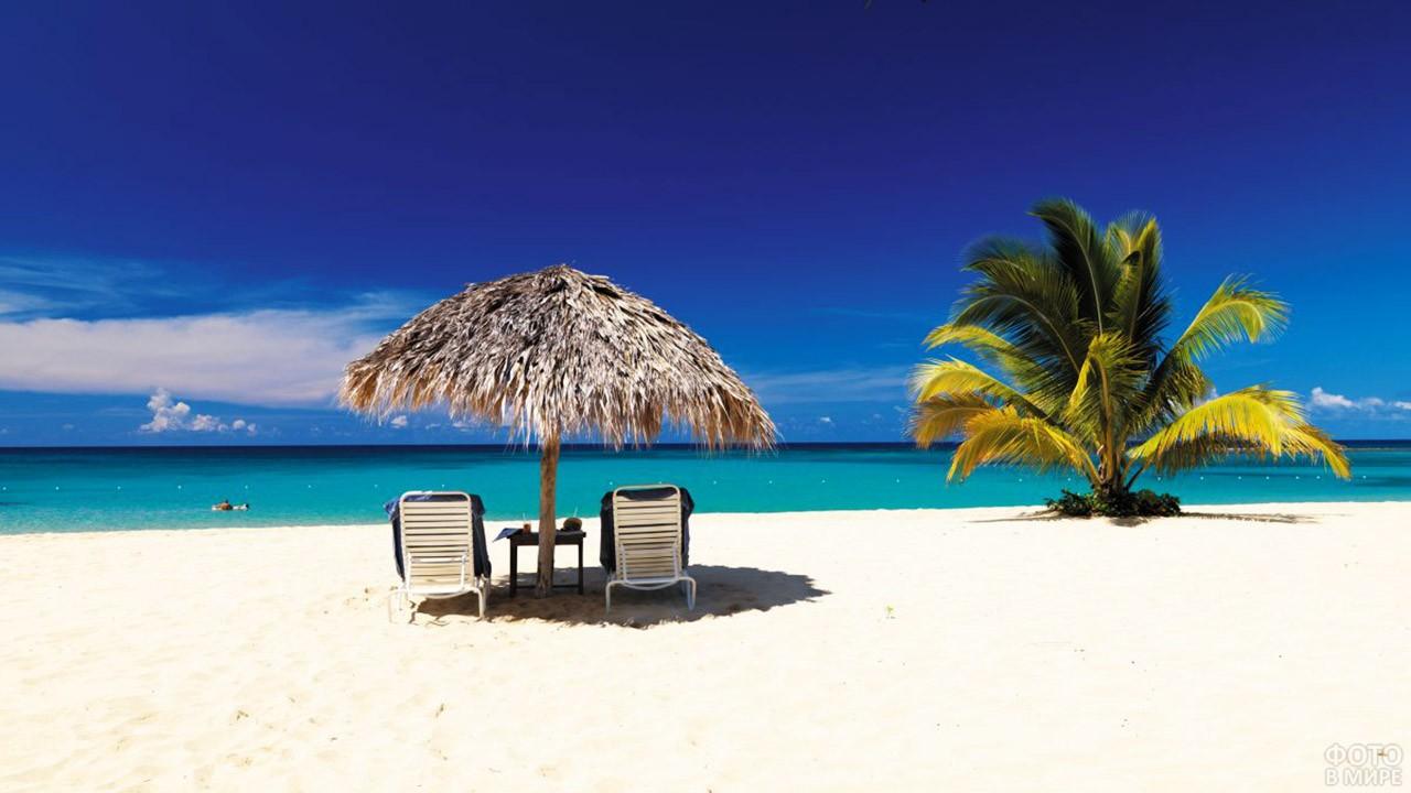 Тропический пляж острова Ямайка
