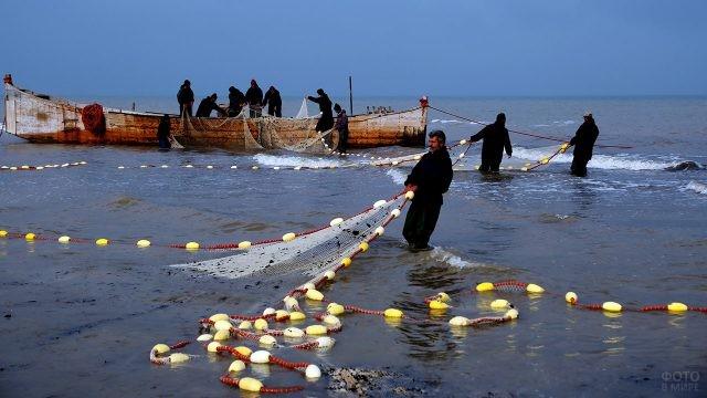 Рыбаки в иранском Энзели