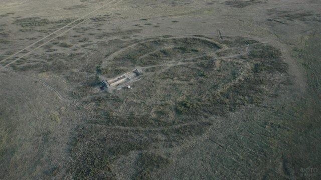 Вид с высоты на Аркаим
