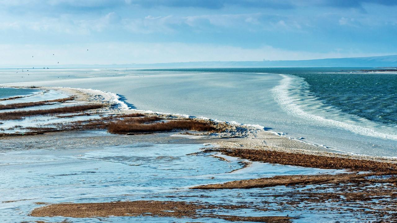 Темрюкский залив зимой