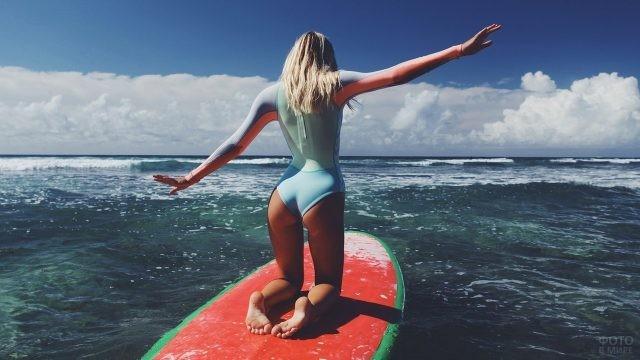 Девушка на доске для сёрфинга