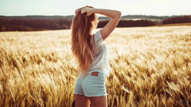 Девушка в поле пшеницы
