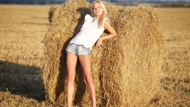 Блондинка у стога сена