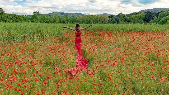 Девушка в красном платье среди маков