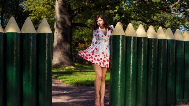 Девушка в платье стоит у забора