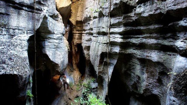Турист в ущелье каменного леса Цинги-де-Бемараха
