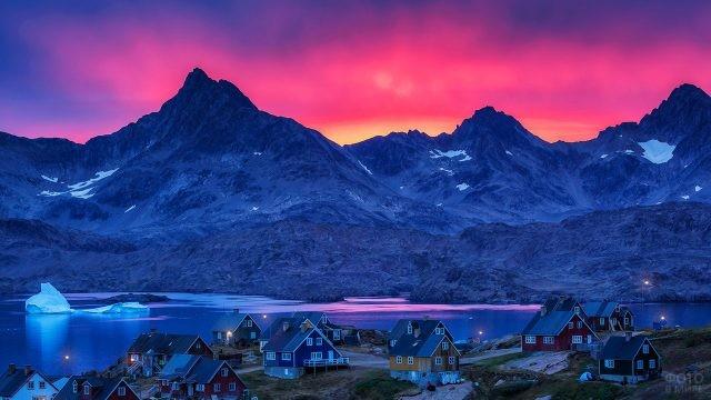 Пурпурное вечернее небо