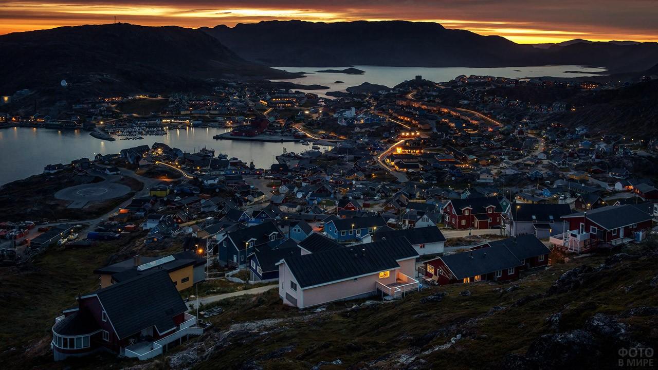 Вечерняя панорама городка Какорток