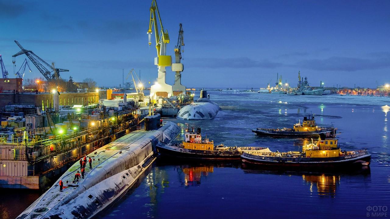 Вечер в порту Северодвинска
