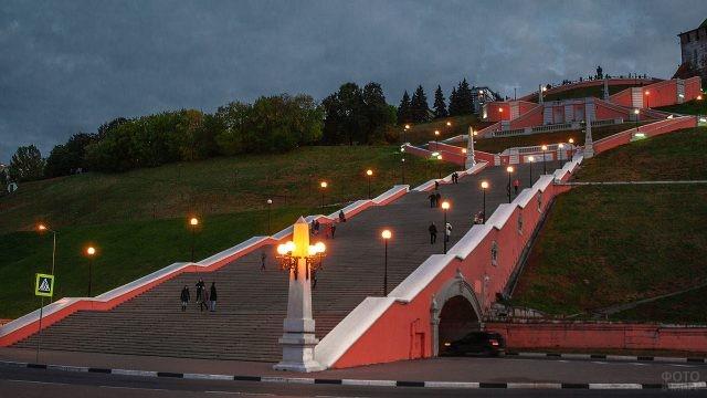 Чкаловская лестница ночью