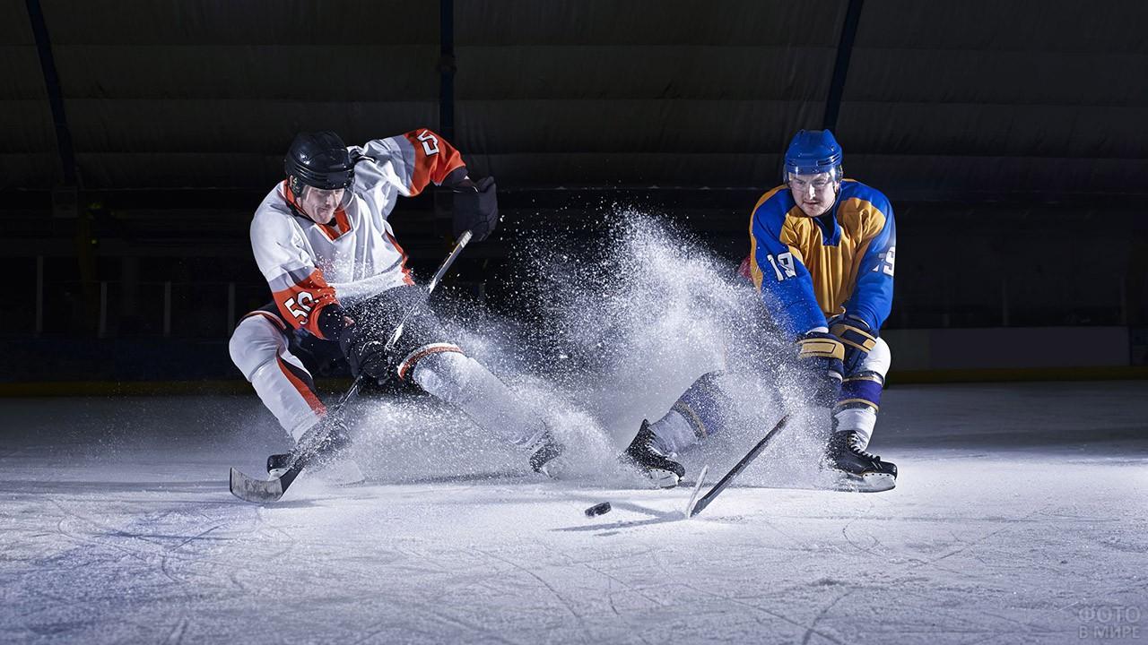 Два хоккеиста борются за шайбу