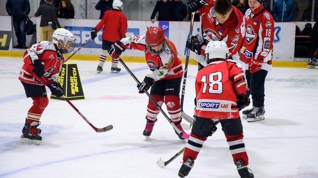 Мальчишки и девчонки играют в хоккей