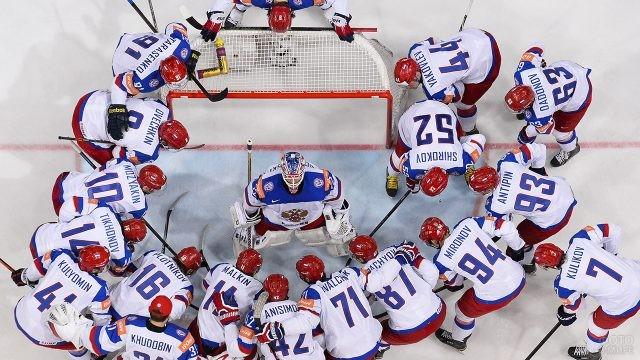 Вид сверху на команду сборной России у ворот