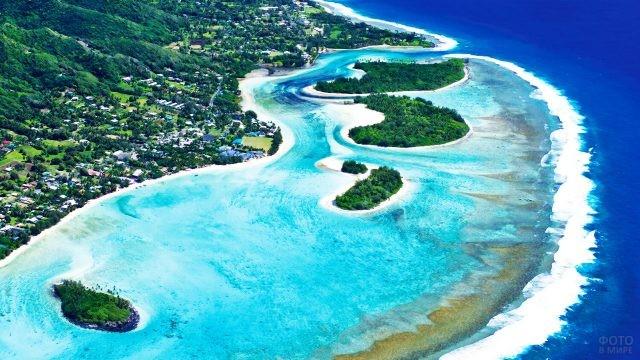 Аэропанорама островов Кука, входящих в Королевство Новой Зеландии