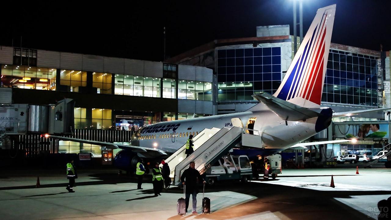 Приземлившийся Боинг авиакомпании Трансаэро