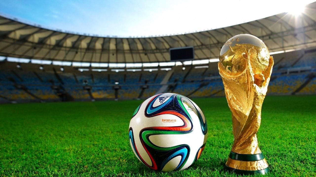 Кубок Чемпионата мира и мяч на поле