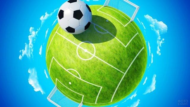 Сферическое футбольное поле среди облаков