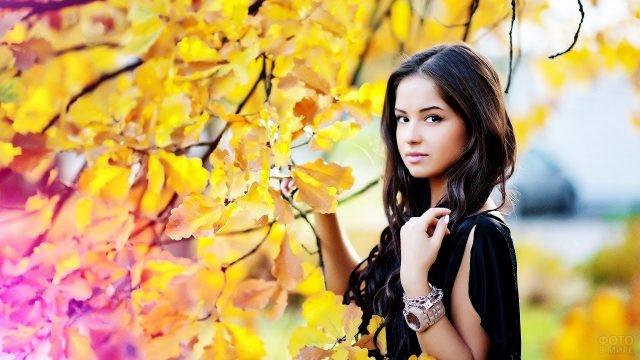 Юная брюнетка среди золотой листвы