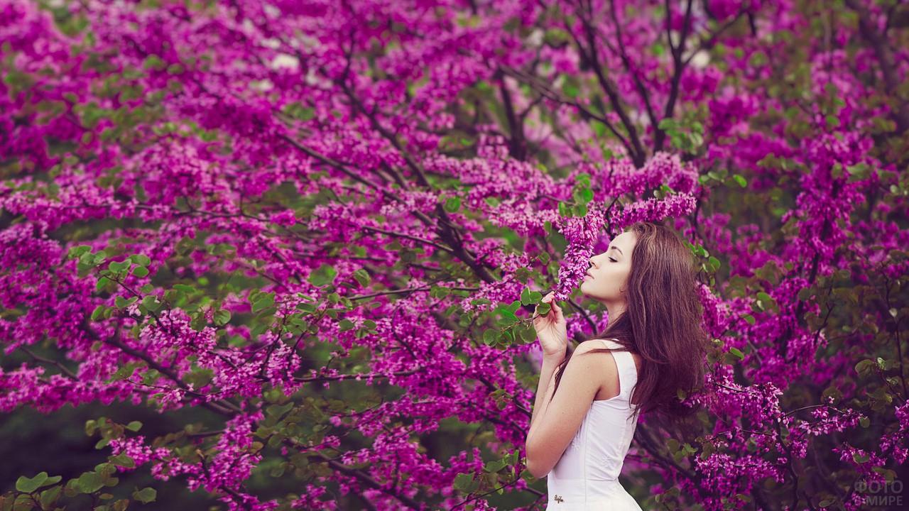 Девушка весной у дерева