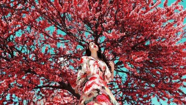 Гламурная брюнетка под цветущей сакурой